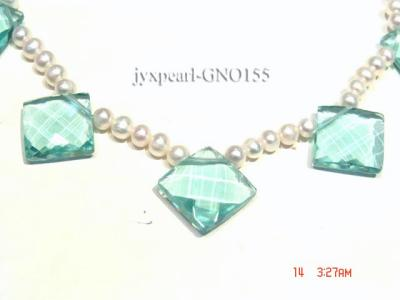 6-7mm white round pearl and light blue rhombic gem necklace GNO155 Image 4