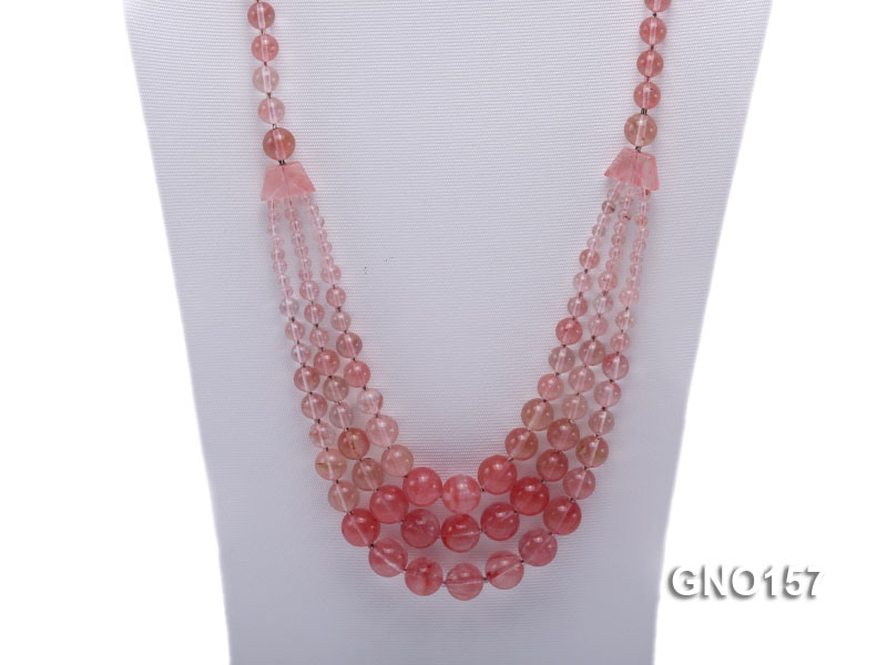 8mm Watermelon Quartz Three-Row Necklace big Image 2