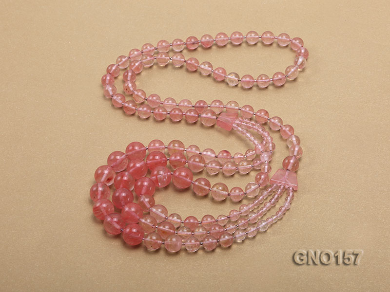 8mm Watermelon Quartz Three-Row Necklace big Image 4