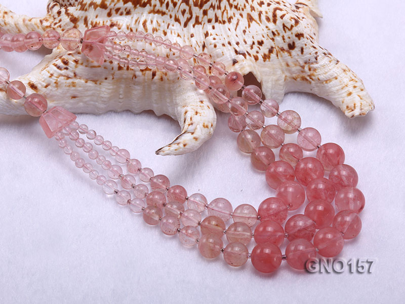 8mm Watermelon Quartz Three-Row Necklace big Image 5
