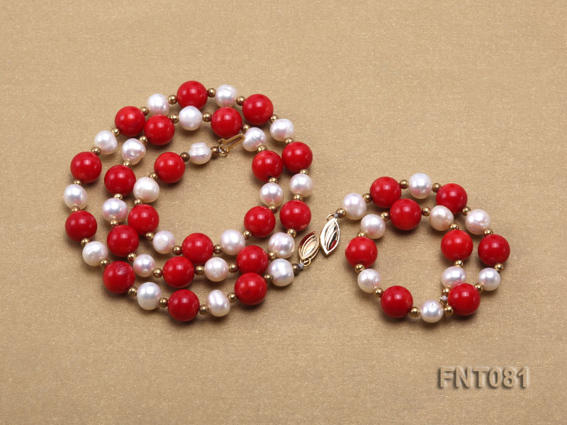 7-8mm White Freshwater Pearl & Red Coral Beads Necklace and Bracelet Set big Image 3