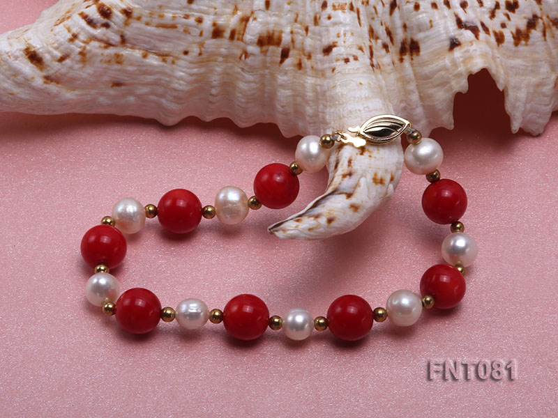 7-8mm White Freshwater Pearl & Red Coral Beads Necklace and Bracelet Set big Image 5