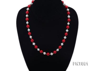 7-8mm White Freshwater Pearl & Red Coral Beads Necklace and Bracelet Set FNT081 Image 2