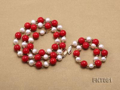 7-8mm White Freshwater Pearl & Red Coral Beads Necklace and Bracelet Set FNT081 Image 3