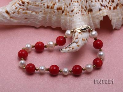 7-8mm White Freshwater Pearl & Red Coral Beads Necklace and Bracelet Set FNT081 Image 5