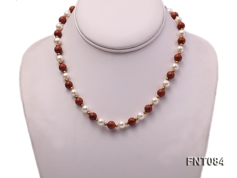 7-8mm White Freshwater Pearl and Goldstone Beads Necklace and Bracelet Set big Image 2