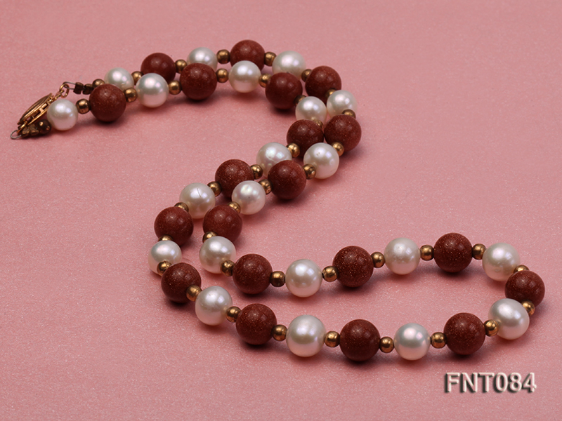 7-8mm White Freshwater Pearl and Goldstone Beads Necklace and Bracelet Set big Image 3