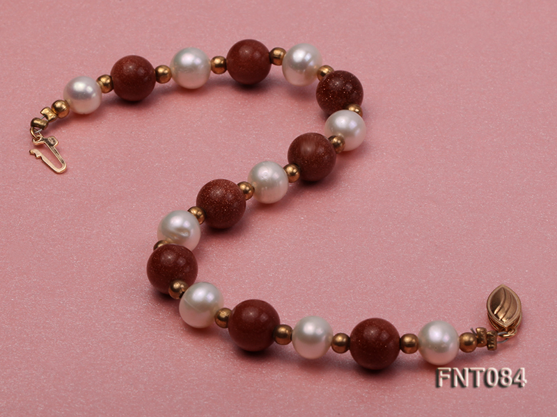 7-8mm White Freshwater Pearl and Goldstone Beads Necklace and Bracelet Set big Image 4