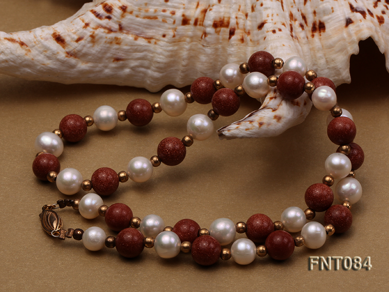 7-8mm White Freshwater Pearl and Goldstone Beads Necklace and Bracelet Set big Image 5