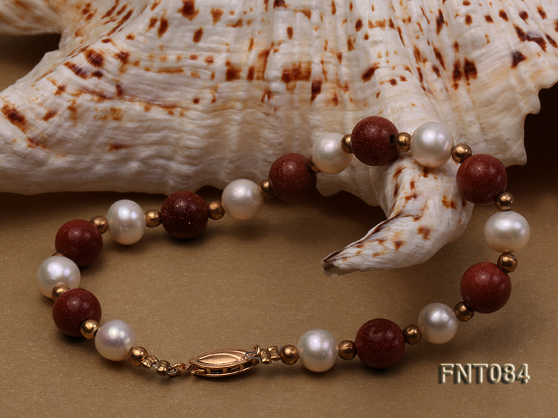7-8mm White Freshwater Pearl and Goldstone Beads Necklace and Bracelet Set big Image 6