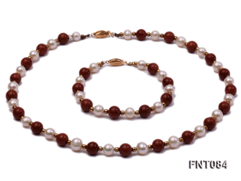7-8mm White Freshwater Pearl and Goldstone Beads Necklace and Bracelet Set big Image 1