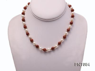 7-8mm White Freshwater Pearl and Goldstone Beads Necklace and Bracelet Set FNT084 Image 2