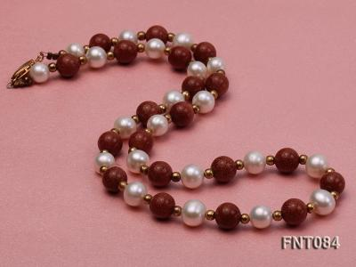 7-8mm White Freshwater Pearl and Goldstone Beads Necklace and Bracelet Set FNT084 Image 3