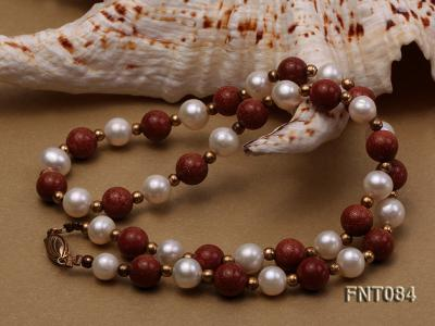 7-8mm White Freshwater Pearl and Goldstone Beads Necklace and Bracelet Set FNT084 Image 5