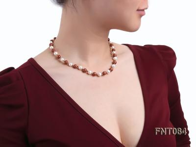 7-8mm White Freshwater Pearl and Goldstone Beads Necklace and Bracelet Set FNT084 Image 9