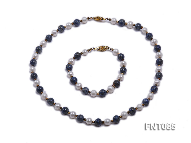 7-8mm White Freshwater Pearl & Lapis Lazuli Beads Necklace and Bracelet Set big Image 1