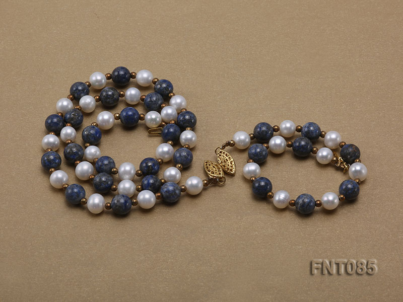 7-8mm White Freshwater Pearl & Lapis Lazuli Beads Necklace and Bracelet Set big Image 4