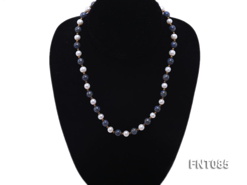 7-8mm White Freshwater Pearl & Lapis Lazuli Beads Necklace and Bracelet Set big Image 5