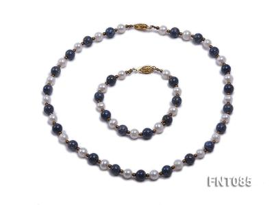 7-8mm White Freshwater Pearl & Lapis Lazuli Beads Necklace and Bracelet Set FNT085 Image 1
