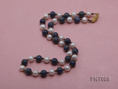 7-8mm White Freshwater Pearl & Lapis Lazuli Beads Necklace and Bracelet Set FNT085 Image 2