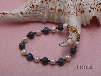 7-8mm White Freshwater Pearl & Lapis Lazuli Beads Necklace and Bracelet Set FNT085 Image 3