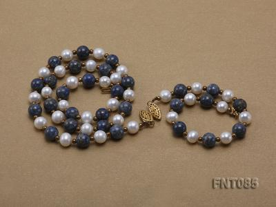 7-8mm White Freshwater Pearl & Lapis Lazuli Beads Necklace and Bracelet Set FNT085 Image 4