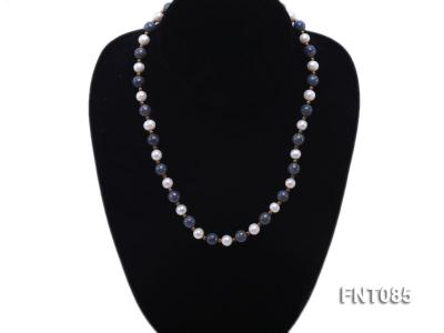 7-8mm White Freshwater Pearl & Lapis Lazuli Beads Necklace and Bracelet Set FNT085 Image 5