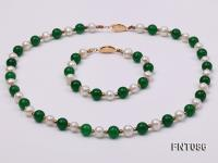7-8mm White Freshwater Pearl & Green Jade Beads Necklace and Bracelet FNT086