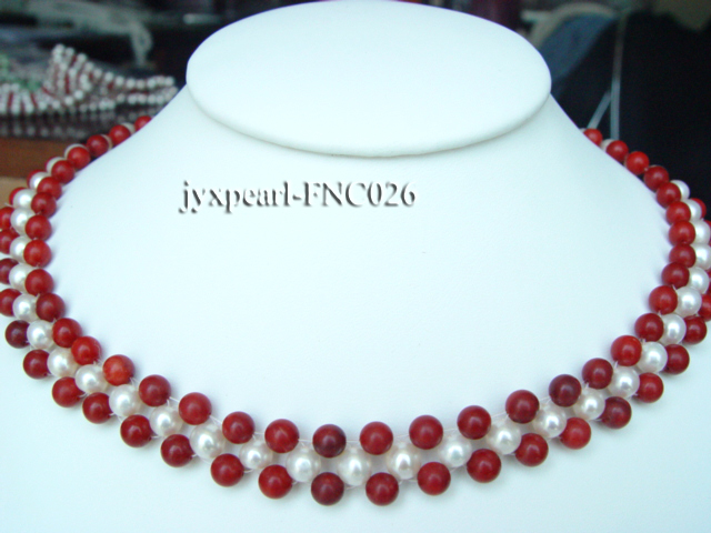 5-6mm White Freshwater Pearl and Red Coral Beads Choker Necklace big Image 1