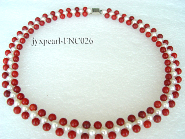 5-6mm White Freshwater Pearl and Red Coral Beads Choker Necklace big Image 2