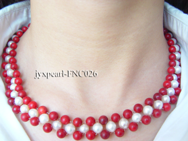 5-6mm white freshwater pearl and red coral choker big Image 3