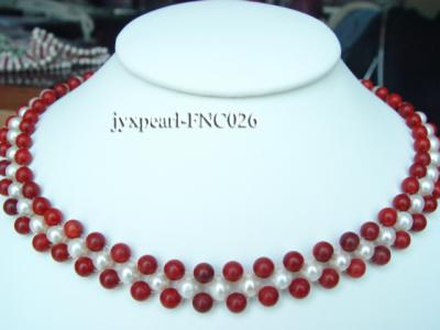 5-6mm White Freshwater Pearl and Red Coral Beads Choker Necklace FNC026 Image 1