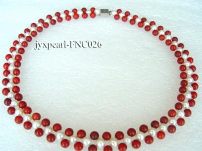 5-6mm White Freshwater Pearl and Red Coral Beads Choker Necklace FNC026 Image 2