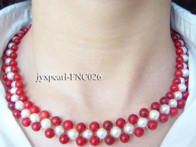 5-6mm White Freshwater Pearl and Red Coral Beads Choker Necklace FNC026 Image 3