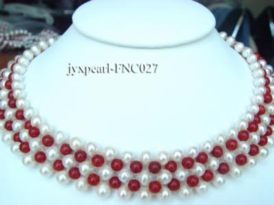 5-6mm White Freshwater Pearl and Red Coral Beads Choker Necklace FNC027 Image 1