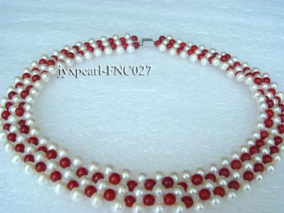 5-6mm White Freshwater Pearl and Red Coral Beads Choker Necklace FNC027 Image 2