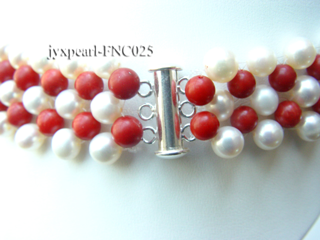 5-6mm White Freshwater Pearl and Red Coral Beads Choker Necklace big Image 3