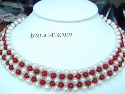 5-6mm White Freshwater Pearl and Red Coral Beads Choker Necklace FNC029 Image 1