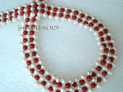 5-6mm White Freshwater Pearl and Red Coral Beads Choker Necklace FNC029 Image 2