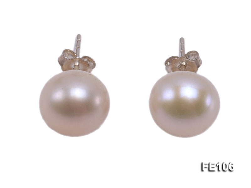 10mm Pink Flat Cultured Freshwater Pearl Earrings big Image 1
