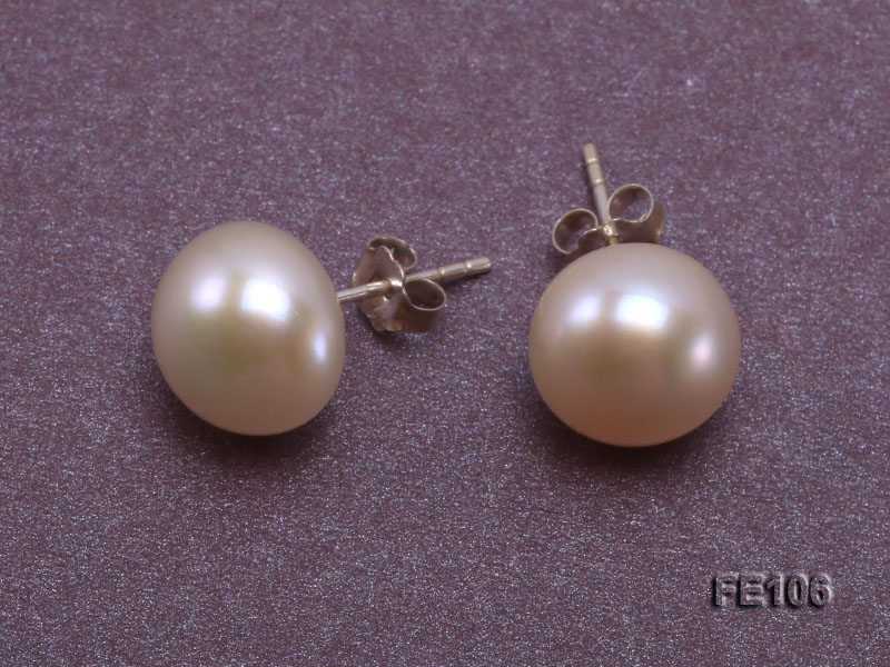 10mm Pink Flat Cultured Freshwater Pearl Earrings big Image 3