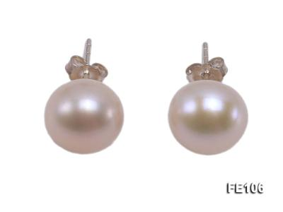 10mm Pink Flat Cultured Freshwater Pearl Earrings FE106 Image 1