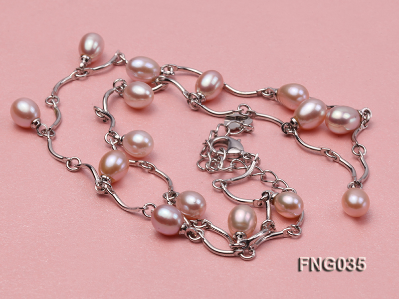 Gold-plated Metal Chain Necklace Dotted with 7x8mm Lavender Freshwater Pearl big Image 3