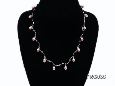 Gold-plated Metal Chain Necklace Dotted with 7x8mm Lavender Freshwater Pearl FNG035 Image 1