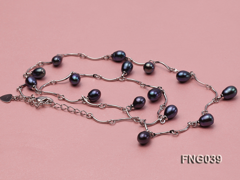Gold-plated Metal Chain Necklace Dotted with Black Freshwater Pearl big Image 3