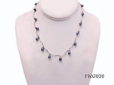Gold-plated Metal Chain Necklace Dotted with Black Freshwater Pearl FNG039 Image 1