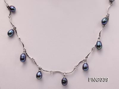 Gold-plated Metal Chain Necklace Dotted with Black Freshwater Pearl FNG039 Image 2