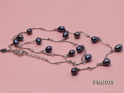 Gold-plated Metal Chain Necklace Dotted with Black Freshwater Pearl FNG039 Image 3