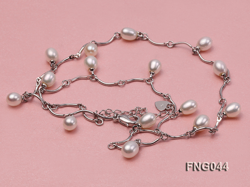 Gold-plated Metal Chain Necklace Dotted with White Freshwater Pearl big Image 3