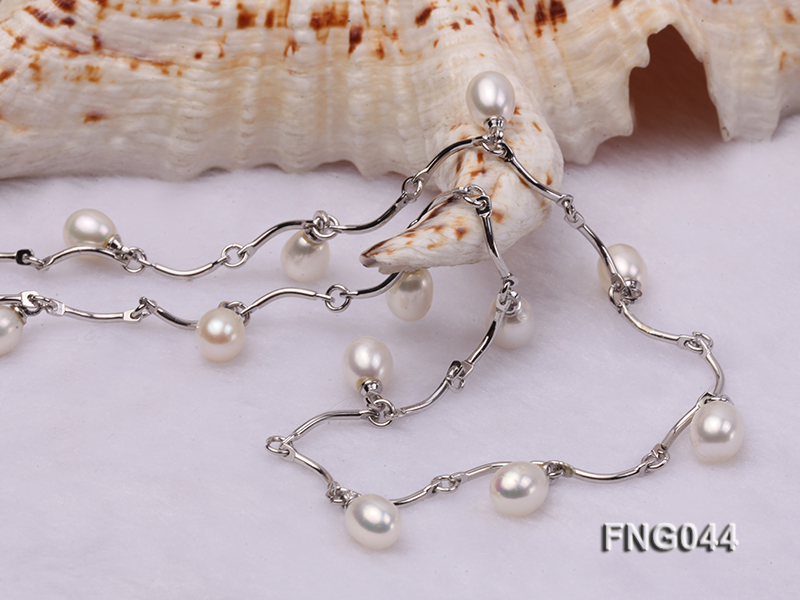 Gold-plated Metal Chain Necklace Dotted with White Freshwater Pearl big Image 4